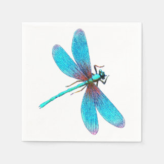 Beautiful Bright Blue Turquoise Dragonfly Paper Napkin