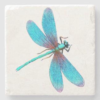 Beautiful Bright Blue Turquoise Dragonfly Stone Coaster