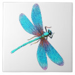 "Beautiful Bright Blue Turquoise Dragonfly Tile<br><div class=""desc"">Beautiful Bright Blue Turquoise Dragonfly This lovely dragonfly illustration has been colored in a bright iridescent turquoise. Change the background color if you wish. Designed by Lark Designs</div>"