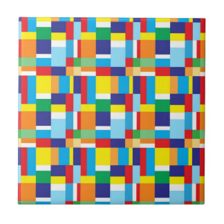Beautiful Bright Colorful Blocks Plaid Squares Ceramic Tile