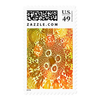 Beautiful Bright Colorful Zen Doodle Bokeh Pattern Postage Stamp