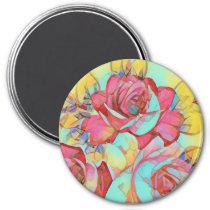Beautiful Bright Decorative Rose Rainbow Colors Magnet