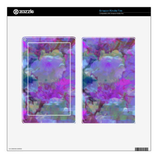 Beautiful Bright Multi Colored Floral Design Decal For Kindle Fire