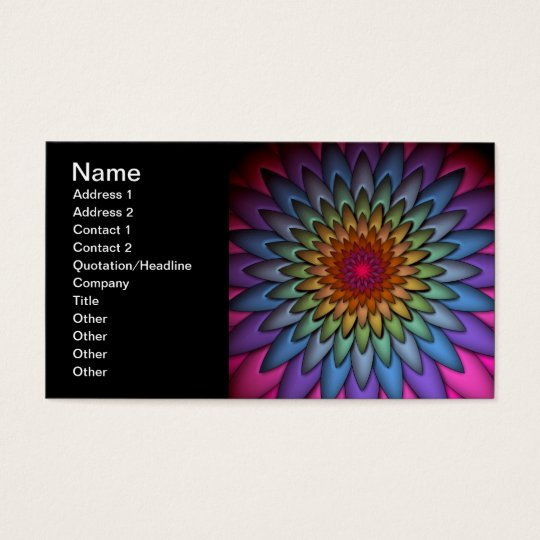 Beautiful Bright Rainbow Flower Business Card