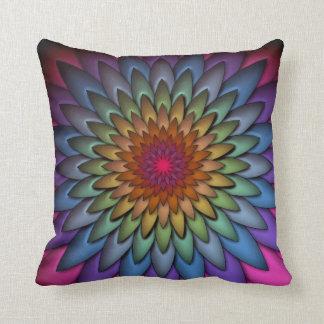 Beautiful Bright Rainbow Flower Throw Pillow