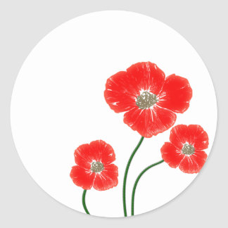 Beautiful  bright red poppy flowers image classic round sticker