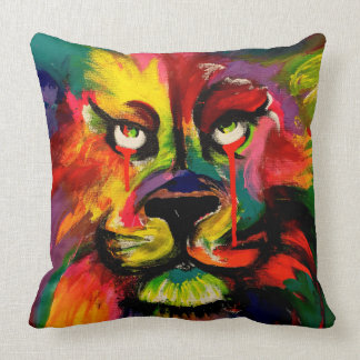 Beautiful brightly coloured lion painting pillow