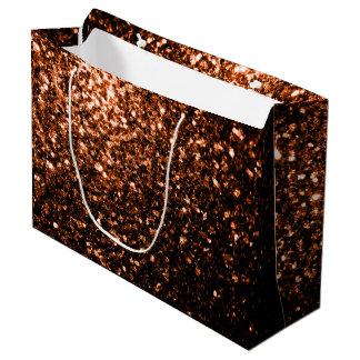 Beautiful Bronze Orange Brown glitters sparkles Large Gift Bag