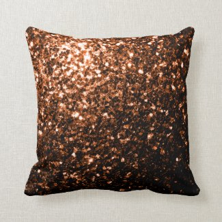 Beautiful Bronze Orange Brown glitters sparkles Pillow