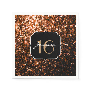 Beautiful Bronze sparkles Sweet 16 napkins Standard Cocktail Napkin