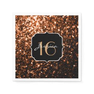 Beautiful Bronze sparkles Sweet 16 napkins Standard Cocktail Napkin