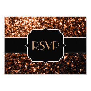 Beautiful Bronze sparkles Sweet 16 RSVP 3.5x5 Paper Invitation Card