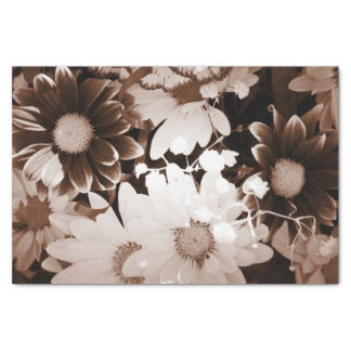 """Beautiful brown and white floral design. 10"""" x 15"""" tissue paper"""
