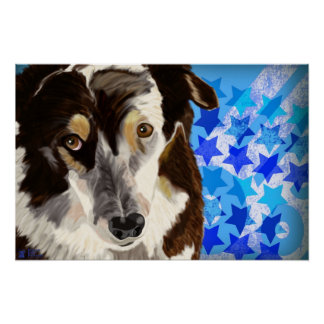 Beautiful Brown and White Fur Dog on Blue Pattern Poster