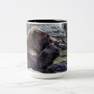 Beautiful Brown Grizzly Bear Two-Tone Coffee Mug