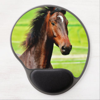 Beautiful Brown Horse Green Grass Gel Mouse Pad