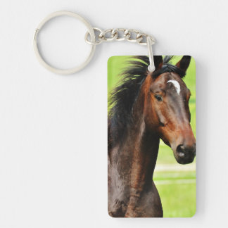 Beautiful Brown Horse Green Grass Keychain