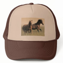Beautiful Brown Horses Running Trucker Hat