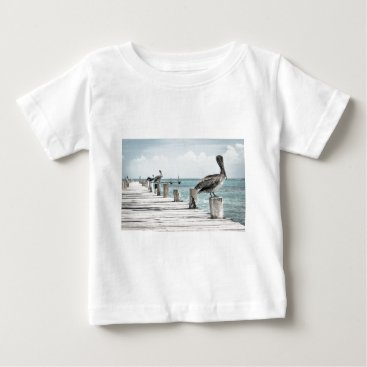 Beach Themed Beautiful Brown Pelicans and Blue Water Baby T-Shirt
