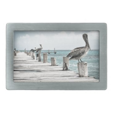 Beach Themed Beautiful Brown Pelicans and Blue Water Belt Buckle
