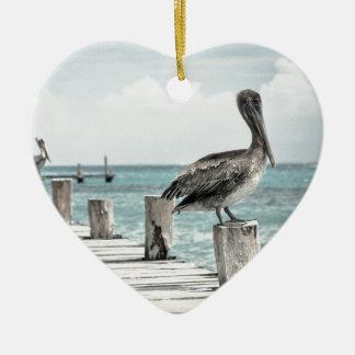 Beautiful Brown Pelicans and Blue Water Ceramic Ornament