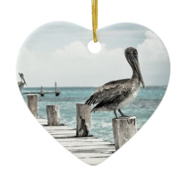 Beach Themed Beautiful Brown Pelicans and Blue Water Ceramic Ornament