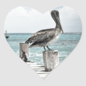 Beach Themed Beautiful Brown Pelicans and Blue Water Heart Sticker