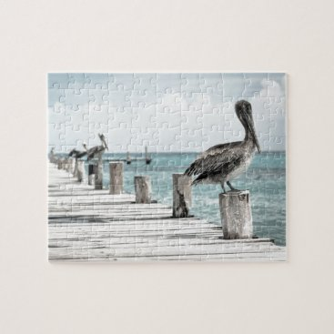 Beach Themed Beautiful Brown Pelicans and Blue Water Jigsaw Puzzle