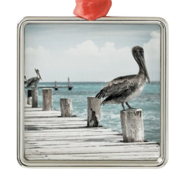 Beach Themed Beautiful Brown Pelicans and Blue Water Metal Ornament