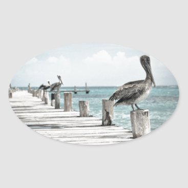 Beach Themed Beautiful Brown Pelicans and Blue Water Oval Sticker