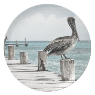 Beach Themed Beautiful Brown Pelicans and Blue Water Plate