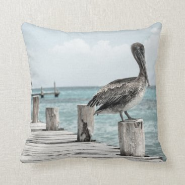 Beach Themed Beautiful Brown Pelicans and Blue Water Throw Pillow