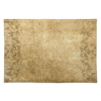 Beautiful Brown Vintage paper parchment and vines Placemats