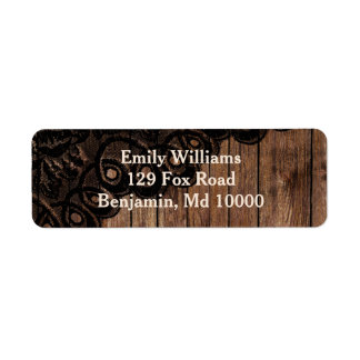 Beautiful Brown Wood and Faux Lace Label