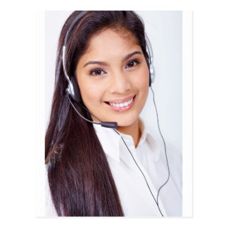 Beautiful Brunette With Headset Postcard