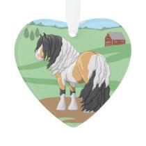 Beautiful Buckskin Pinto Gypsy Vanner Draft Horse Ornament