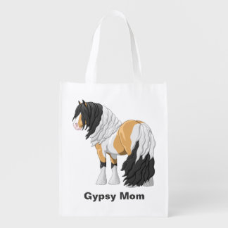 Beautiful Buckskin Pinto Gypsy Vanner Draft Horse Reusable Grocery Bag