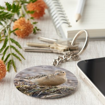 Beach Themed Beautiful Buff-Breasted Sandpiper at the Beach Keychain
