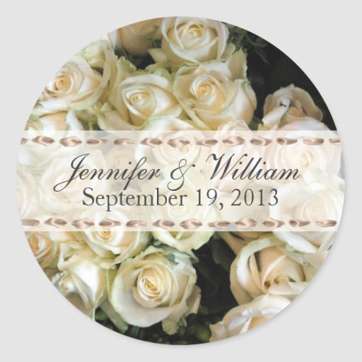 Beautiful Bunch of Roses Custom Wedding Sticker