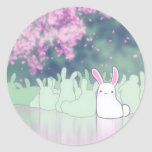 Beautiful bunny at the lake round stickers
