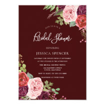 Beautiful Burgundy Flowers Bridal Shower Invite