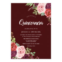 Beautiful Burgundy Flowers Quinceanera Invite