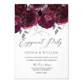 Beautiful Burgundy Maroon Roses Engagement Party Invitation