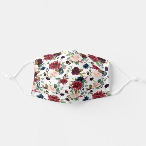 Beautiful Burgundy Red Blush Botanical Floral Cloth Face Mask