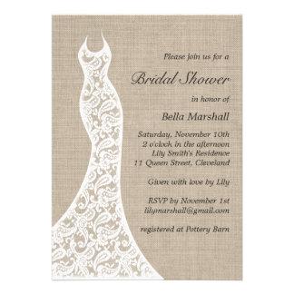 Beautiful Burlap Bridal Shower Invitation Invite