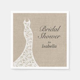 Beautiful Burlap Bridal Shower Napkin