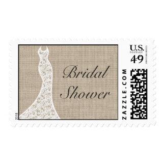 Beautiful Burlap Bridal Shower Stamp