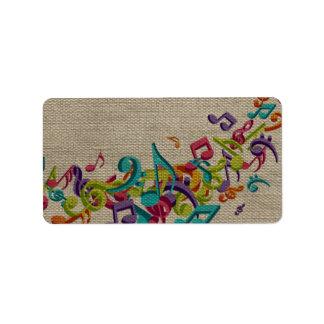 Beautiful burlap texture music notes sounds backgr personalized address labels