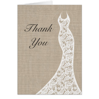 Beautiful Burlap Thank You Card Greeting Cards
