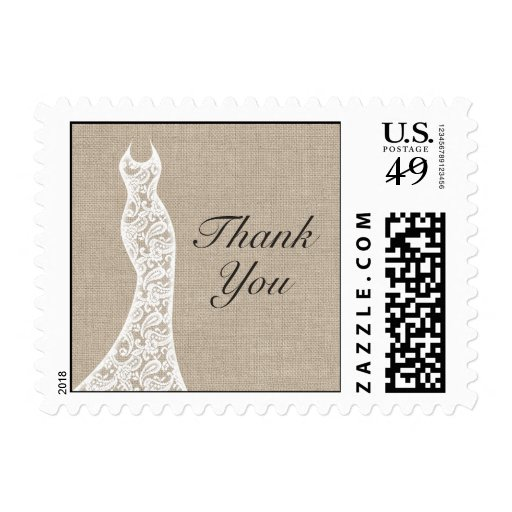 Beautiful Burlap Thank You Stamp Postage Stamps